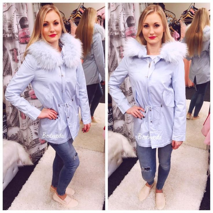 Spring parka jacket with detachable fur