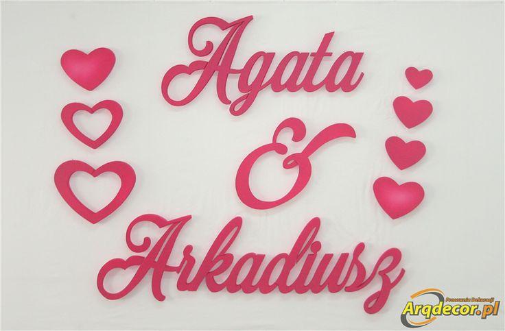 Pracownia Dekoracji ARQ - DECOR - Agata & Arkadiusz, Imiona Nowożeńców , Pary Młodej (NA ZAMÓWIENIE) nr 159 Dekoracje Ślubne