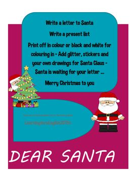 Writing frames to write a letter to Santa (with lines and blank)Blank writing frames to write a list for Santa (no lines)Colour and black and white Different styles include:SantaElf Christmas tree with Santa Santa face Snowman etc Merry Christmas LearningthruEnglish