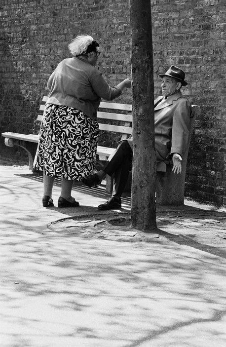 Richard Kalvar - New York City. Italian lady yelling at man, Greenwich Village. 1967.