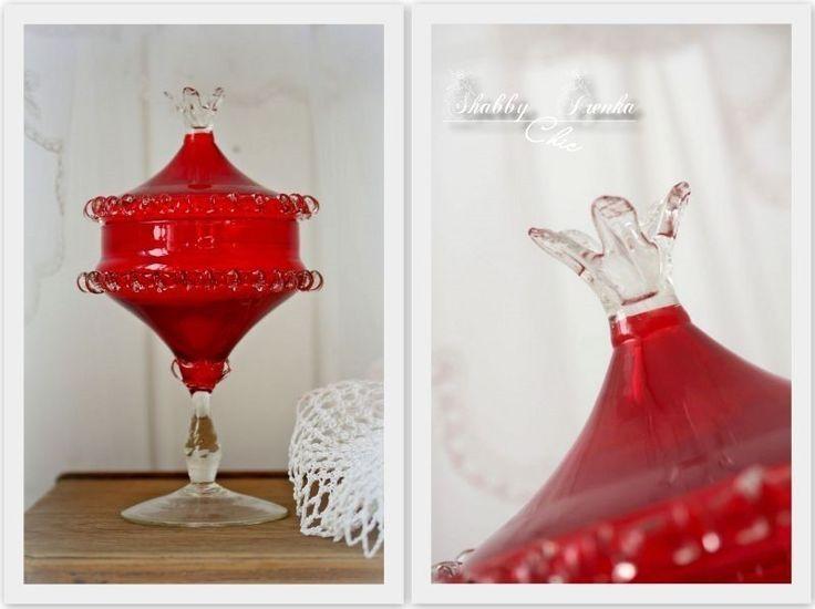 Glas Konfektschale mit Deckel von ShabbyChicIrenka auf DaWanda.com