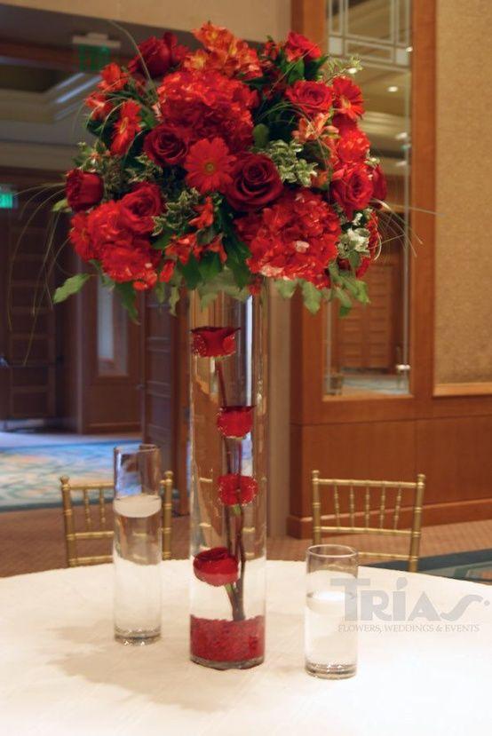 Red wedding flower centerpiece imgkid the