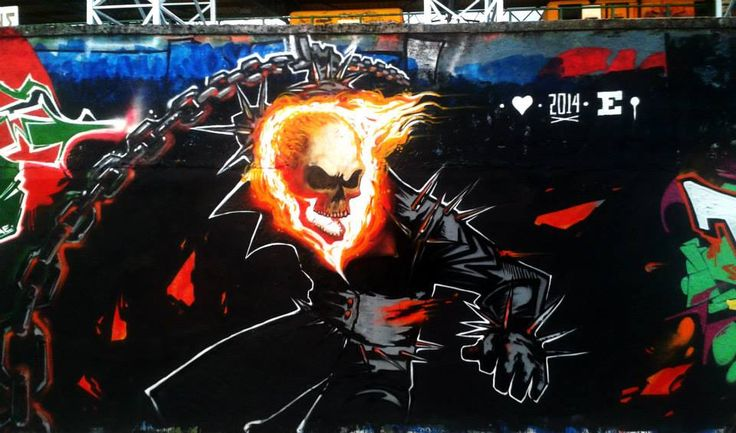 ghosto rider mural in karditsa @ hip hop united festival 2014
