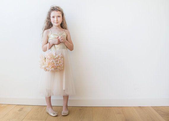 Gold tulle flower girl dress, Gold Ballerina dress, Junior bridesmaids dress