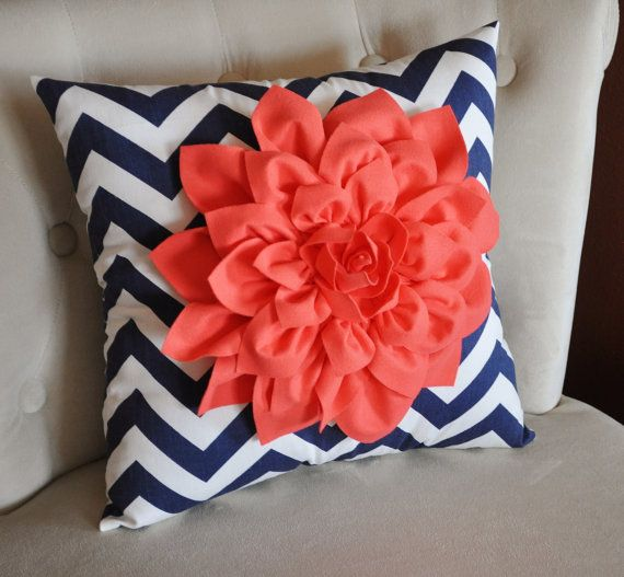 Coral Dahlia on Navy and White Zigzag Pillow. Love everything about this pillow! Dahlias are my favorite, Coral is my fav color and goes great with navy and white!