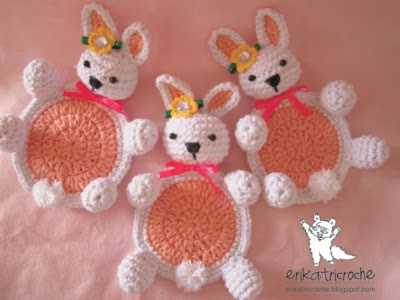 """Bunny coasters pattern - use your """"translator"""" to get the pattern"""
