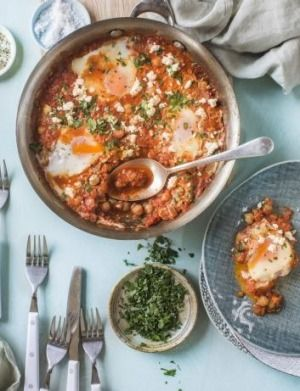 One-pan Turkish eggs and chickpeas in smoky tomato sauce.