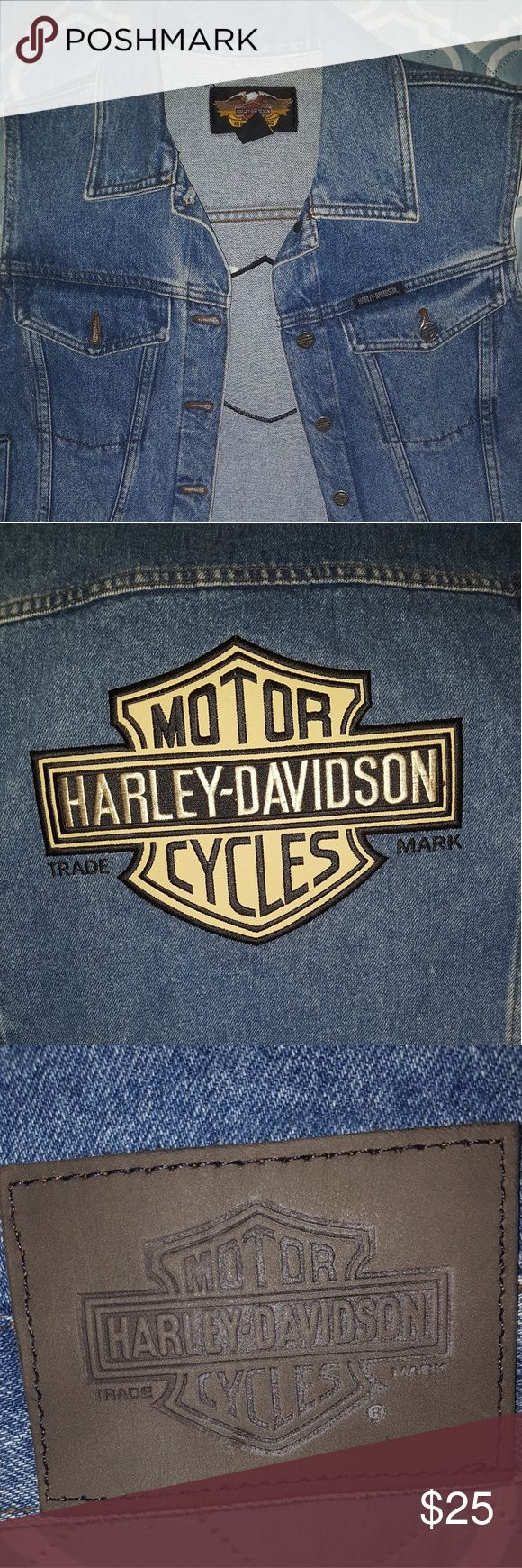 Sleeveless Harley Davidson Jean Jacket/Vest Harley Davidson sleeveless denim Jean jacket with logo embroidered patch on the back, also Harley buttons and Harley leather patch on the back lower hem Harley-Davidson Jackets & Coats Jean Jackets