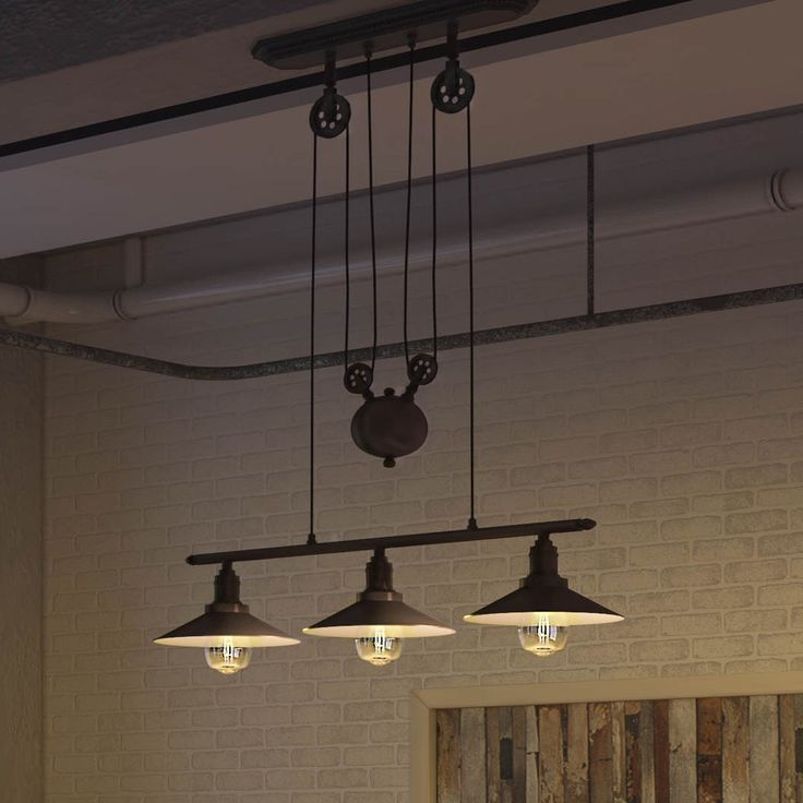 Vonn Lighting Delphinus 35-inches LED Linear Adjustable Hanging Industrial Chandelier Lighting with LED Filament Bulbs in Bronze (Architectural Bronze), Black (Metal)