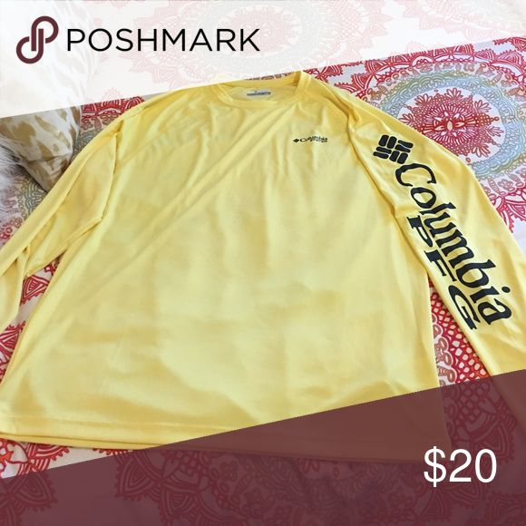 NWOT Columbia PFG shirt yellow size medium long sleeve PFG shirt. took the tags off but never worn, didn't fit Columbia Tops Tees - Long Sleeve