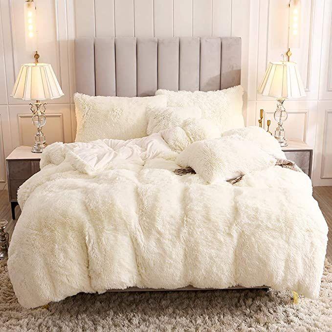 Amazon Com Uhamho Faux Fur Velvet Fluffy Bedding Duvet Cover Set Down Comforter Quilt Cover With Pillow Shams In 2020 Fluffy Bedding Fluffy Duvet White Fluffy Bedding
