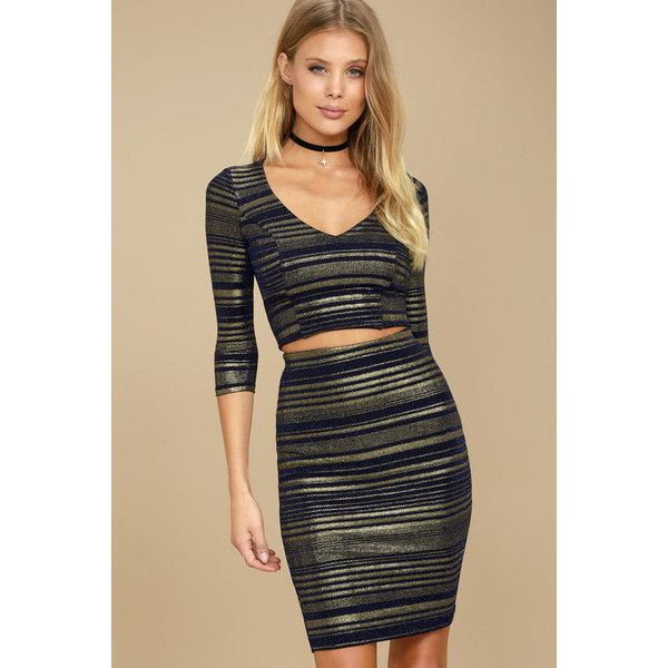 Shimmer Down Navy Blue and Gold Striped Two-Piece Dress ($59) ❤ liked on Polyvore featuring dresses, gold, navy stripe dress, striped bodycon dress, navy striped dress, two piece bodycon dresses and lulus dress