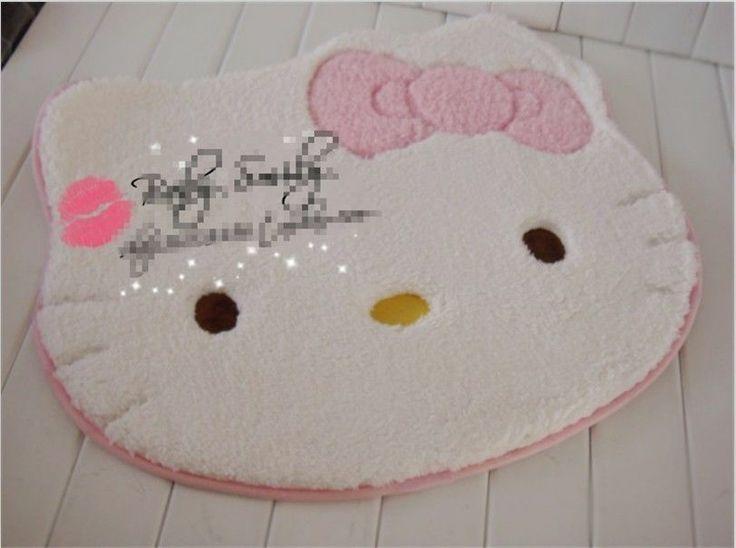 New Hello Kitty Bedroom Door Floor Fleece Carpet Rug Mat 56X53cm Pink  Antislip