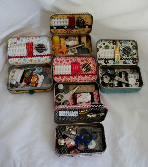 Sewing kits put into decorated Altoids tins!