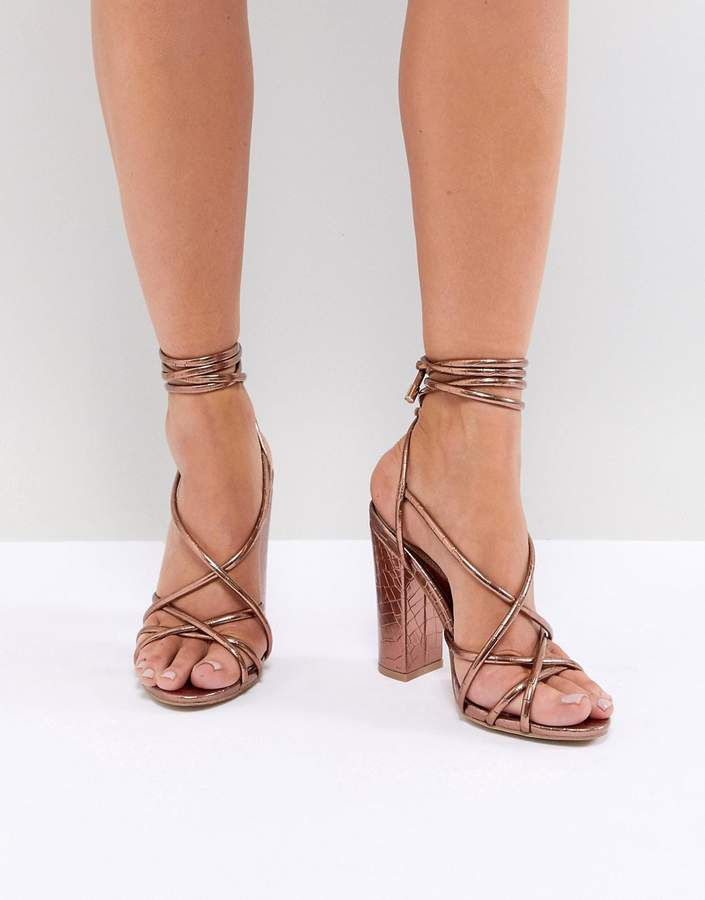 e116aa196425 Missguided Croc Multi Strap Block Heel Sandal  ad