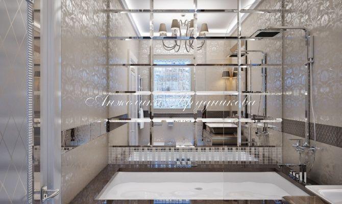 Дизайн интерьера ванной комнаты в стилеАр Деко на Мосфильмовской