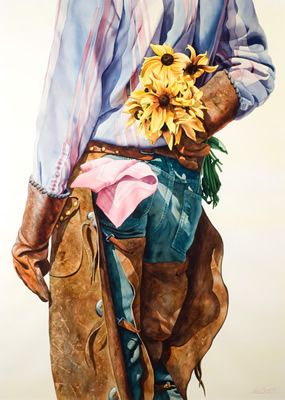 watercolor- cowboy with sunflowers