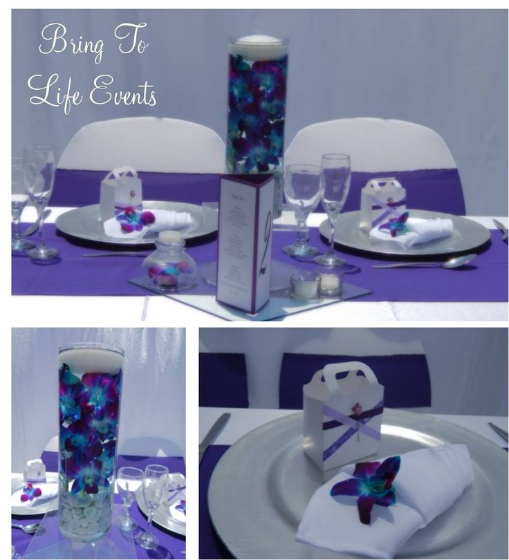 Purple and white table setting