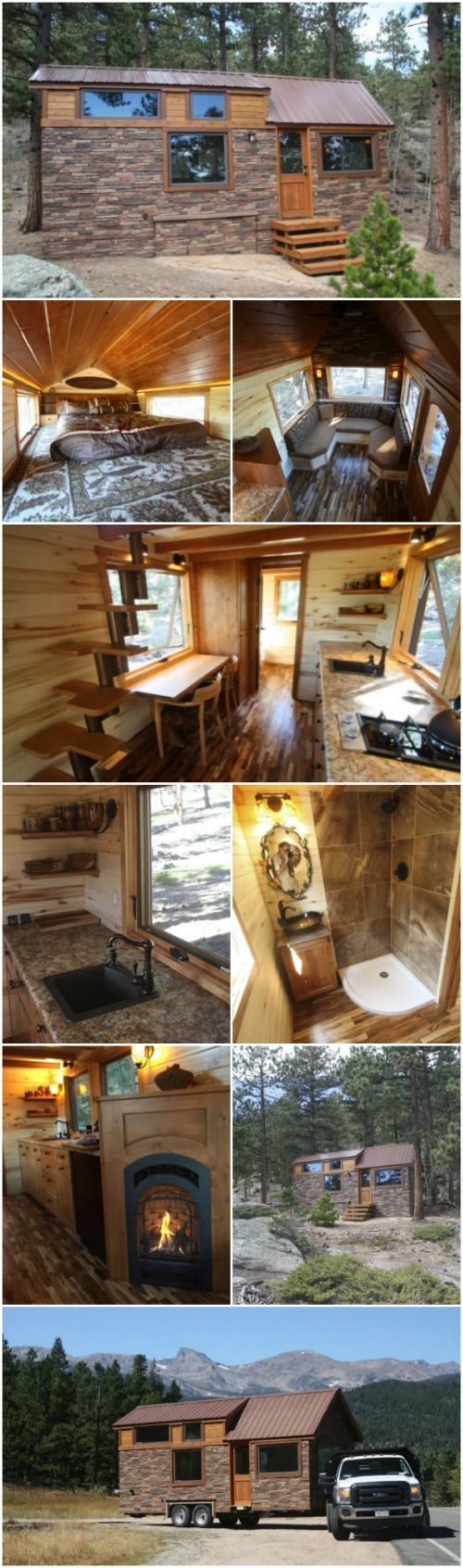 SimBLISSity Tiny House Builders Design Gorgeous Stone Cottage in Colorado - SimBLISSity Tiny Homes is a company that we've recently stumbled upon and we cannot get enough of their incredible tiny houses so we'll be sharing a few of them with you in the future. First up is the 24' Stone Cottage which is absolutely exquisite in every detail! They didn't list a size but it looks like it's around 240 square feet.