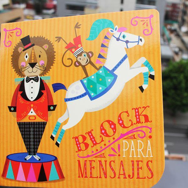 Block para mensajes pequeño circo $15.000 Disponible en www.hojas.com.co