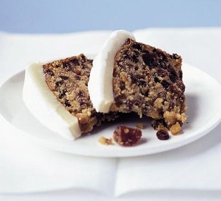 Hot toddy fruitcake got excellent reviews.  Four suggestions for toppings, if desired.  Many reviewers use less tea.  This is a British recipe with metric quantities and centigrade/Celsius oven temp.