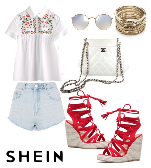 """""""Floral and gold summer"""" by anielle-fashion on Polyvore featuring Topshop, Chanel, Ray-Ban and Sole Society"""