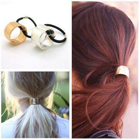Haircuff - Pferdeschwanz-Halter Metall Gold oder Silber
