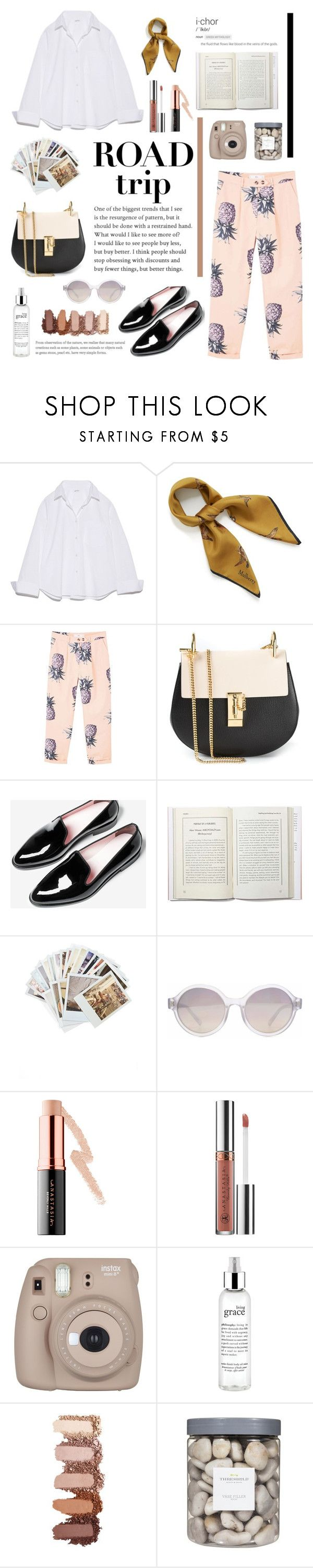 """""""Get ready for a road trip"""" by higuysimjulie ❤ liked on Polyvore featuring Mulberry, MANGO, Chloé, Everlane, Chronicle Books, HOOK LDN, Anastasia Beverly Hills, Fujifilm, philosophy and Threshold"""