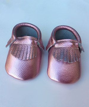 Loving this first steps Pink Metallic Leather Moccasin on #zulily! #zulilyfinds