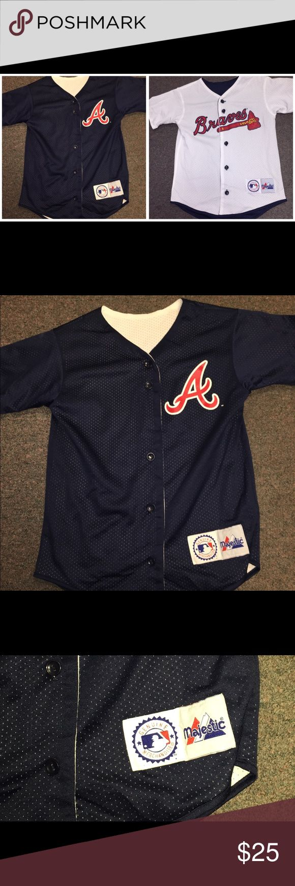 Atlanta Braves MLB REVERSIBLE BASEBALL JERSEY SZ M ATLANTA BRAVES Reversible Jersey. Genuine Major League Baseball Jersey by Majestic. Chest and waist measures 30 inches.  092617–12 drnerds mlb Shirts & Tops