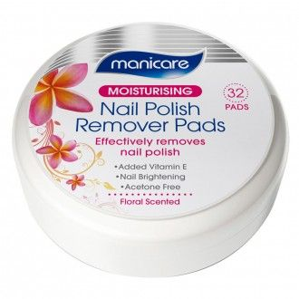 Manicare Moisturising Nail Polish Remover Pads Floral Scented 32 pack