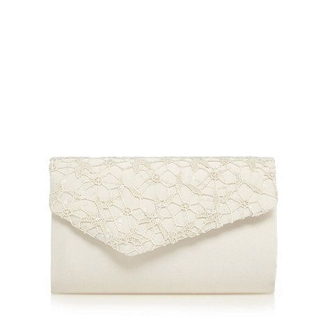 Debut Ivory sequinned lace clutch bag | Debenhams