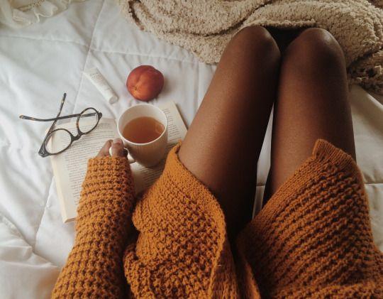knit sweater, glasses, tea