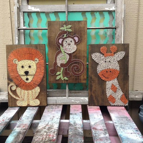 $169 Etsy String Art Animals, Monkey String Art, Lion String Art, Giraffe String Art, Jungle Theme Nursery Decor, Wild Animal Set of Wall Art