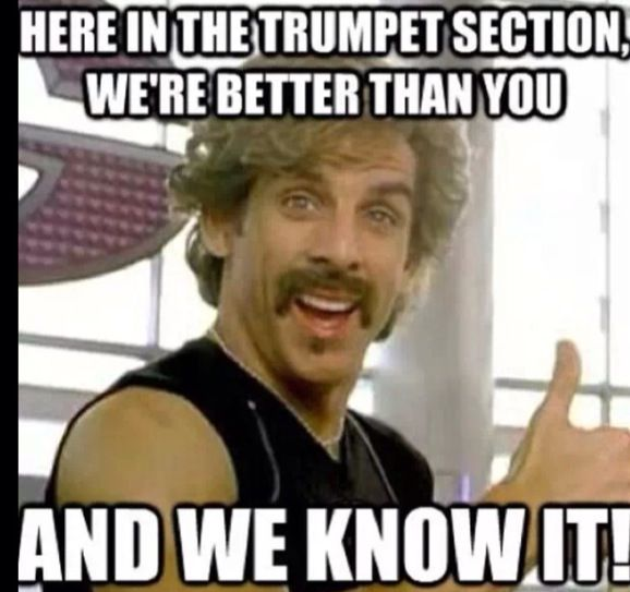 Not me jk! My band teacher always jokes around with us trumpets like this he is sooooooo funny!!!!