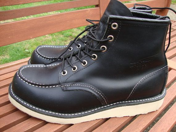 Vintage Mens Black Red Wing Chukka Moc Toe Leather by