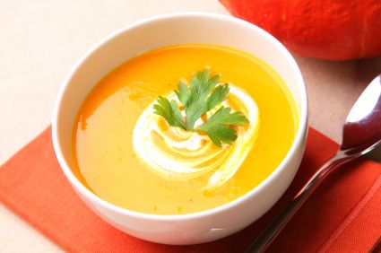 Easy pumpkin soup using either homemade or canned pumpkin puree!