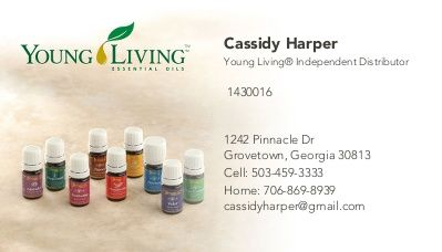 Young living business Business card templates and Card
