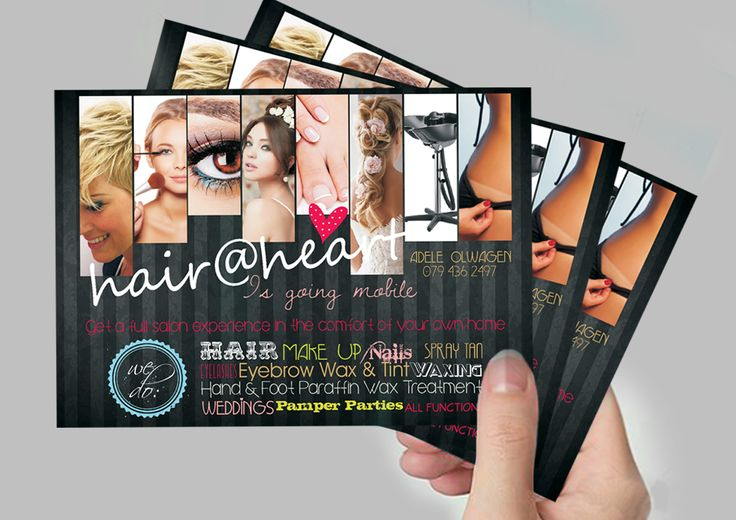 Logo Design, Printed A6 Flyers to advertise Hair@Heart's mobile service. #graphic #design #logo #flyers #advertising #printing