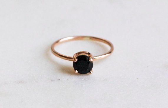 14K Rose Gold Solitaire Ring Large Black Spinel by CSfootprints