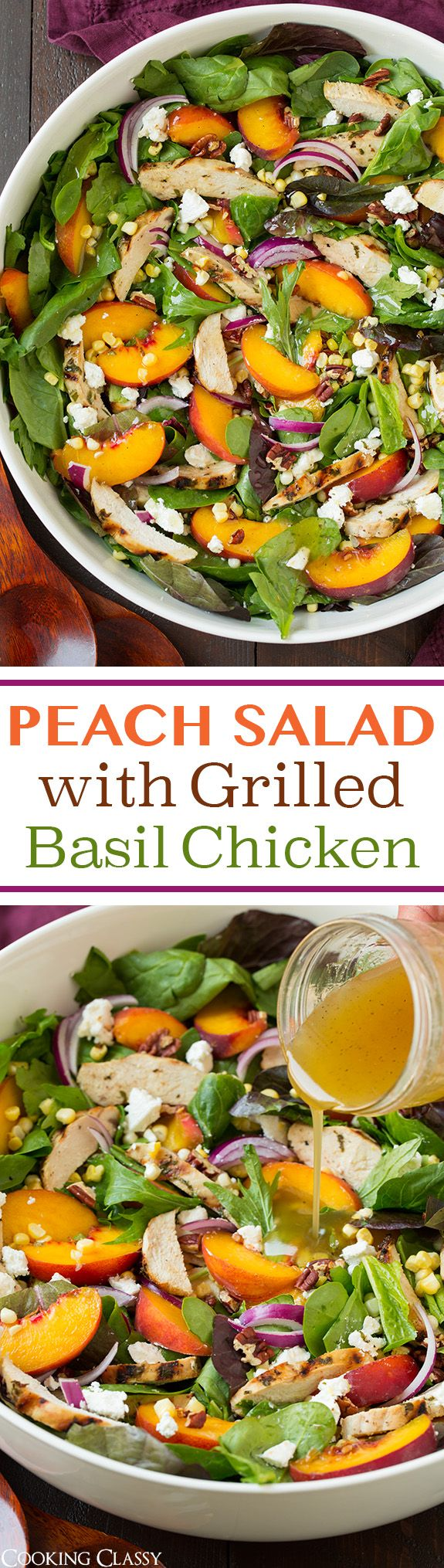 Peach Salad with Grilled Basil Chicken and White Balsamic-Honey Vinaigrette - this salad is INCREDIBLE!! One of my favorite summer salads! Spring greens, garlic-basil marinated chicken, peaches, corn, goat cheese, pecans, red onion and a white balsamic dressing.