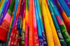Colorful Saree (Sari) background stock photo