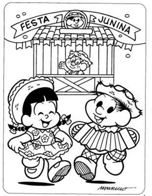 Desenhos da Turma da Mônica na Festa Junina | Desenhos e Riscos - Desenhos para colorir