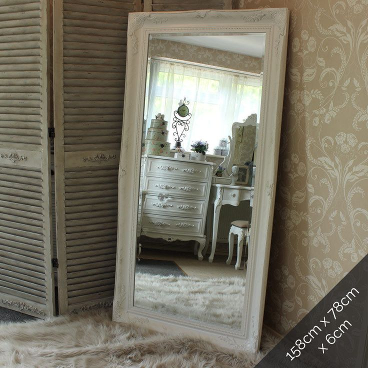 Details about extra large white wall floor ornate mirror for Full length mirror in living room