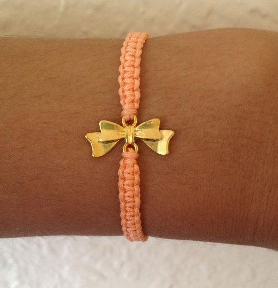 Bow Charm Friendship Bracelet in Coral by KindOfBeautiful on Etsy