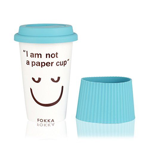 Magician Eco Cup  I am not a paper cup Ceramic Funny Travel Mug With Silicone Lid  Sleeve Tea and Coffee Mug with Cute Lovely Face 14oz 420ml Blue >>> ** AMAZON BEST BUY **