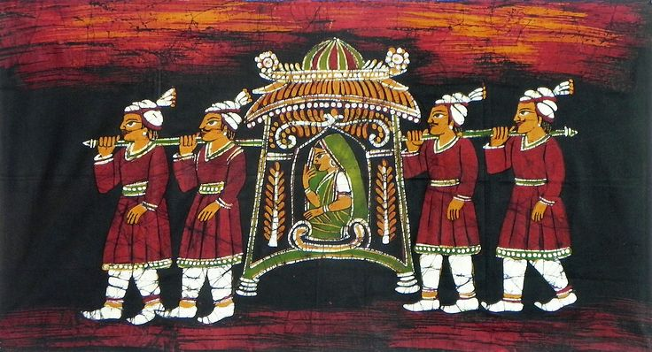 Bride+in+a+Palanquin+(Batik+Painting+on+Cotton+Cloth+-+Unframed)