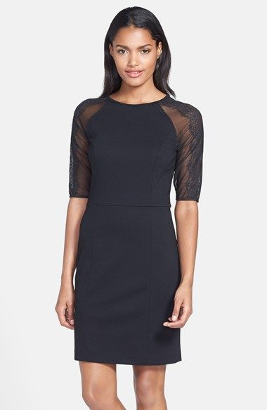 Cynthia Steffe 'Shawn' Lace Sleeve Ponte Sheath Dress available at #Nordstrom