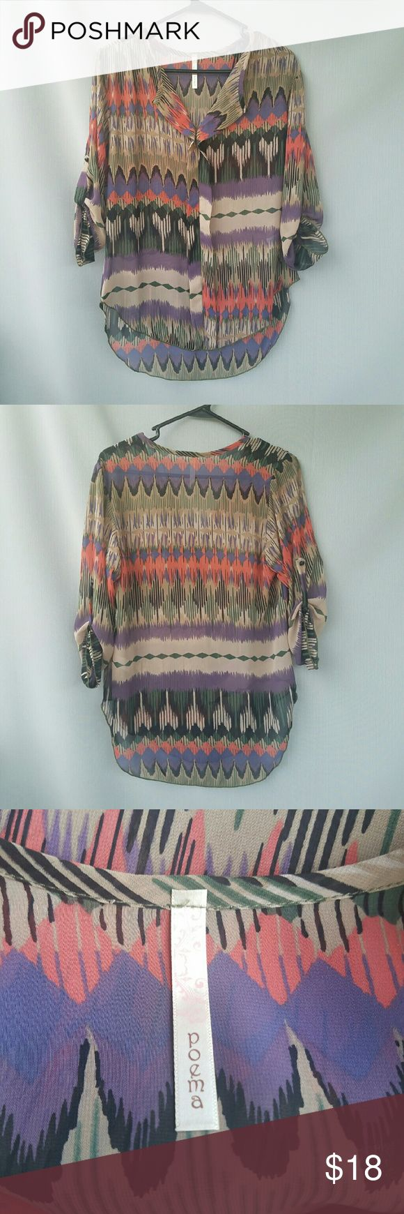 Poema Aztec Top Excellent condition  Feel free to ask me any additional questions! Bundles 3+ 15% off. Happy Poshing! No trades, or modeling. poema Tops