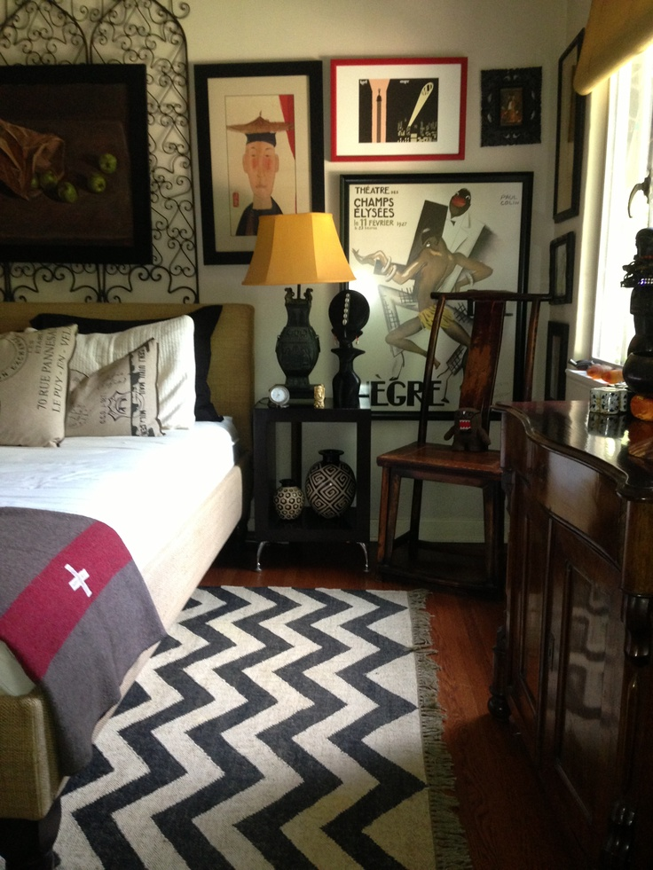 Handsome Mans Bedroom black and white chevron rug